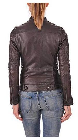 Womens Lambskin Brown Leather Bomber Jacket 02