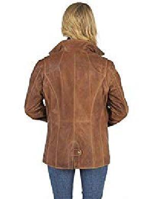 Womens Lambskin Leather Long Jacket 02