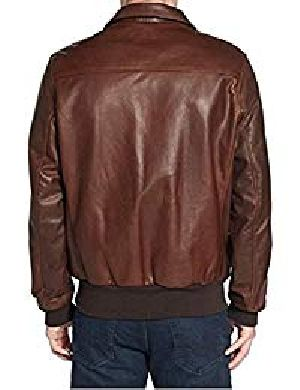 Mens Lambskin Brown Leather Biker Jacket 02