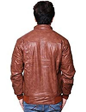 Mens Lambskin Bolero Brown Leather Biker Jacket 02