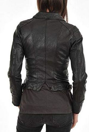 Womens Vintage Black Leather Jacket 02