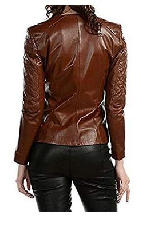 Womens Lambskin Brown Leather Biker Jacket 02