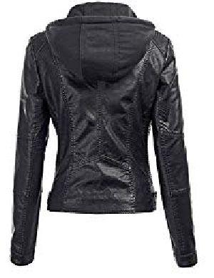 Womens Lambskin Leather Hoodie Biker Jacket 02
