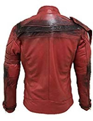 Mens Lambskin Light Red Leather Biker Jacket 02