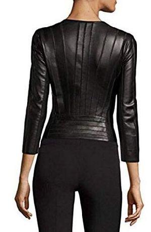 Womens Lambskin Fringed Layered Leather Biker Jacket 02