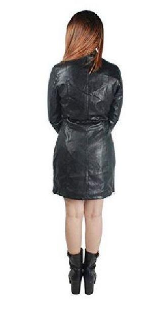 Womens Lambskin Black Leather Long Biker Jacket 03