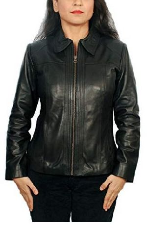 Womens Lambskin Leather Short Peacoat Jacket 02
