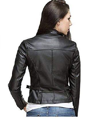 Womens Lambskin Black Leather Biker Jacket 02