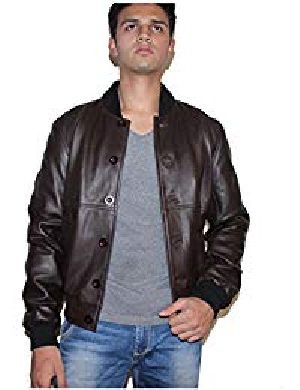 Mens Sword Brown Lambskin Leather Biker Jacket 01