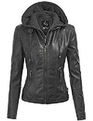 Womens Lambskin Leather Hoodie Biker Jacket 01