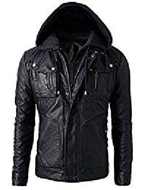 Mens Leather Detachable Hoodie Biker Jacket 01