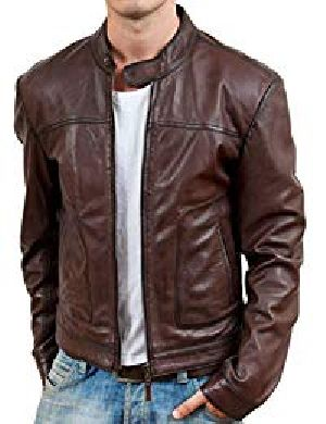 Mens Retro Brown Leather Jacket 01