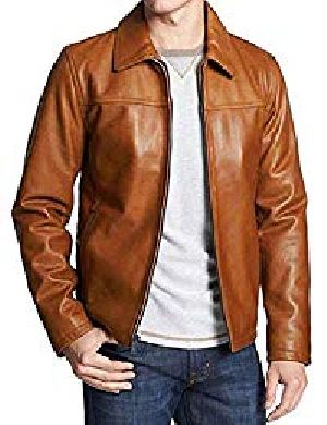 Mens Lambskin Brown Leather Bomber Jacket 01