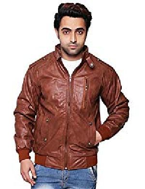 Mens Lambskin Bolero Brown Leather Biker Jacket 01