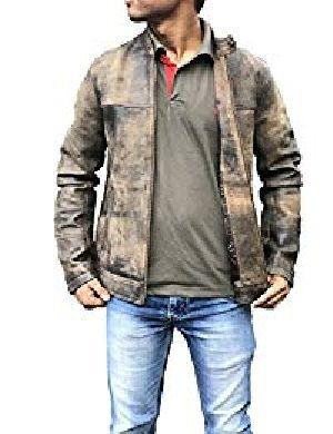 Mens Vintage Distressed Brown Leather Jacket 01