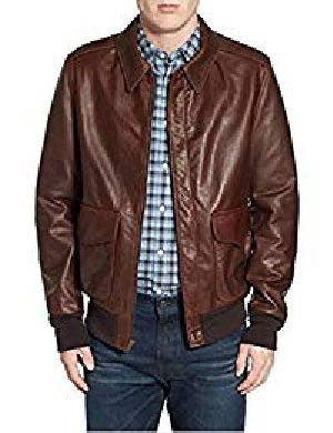 Mens Lambskin Brown Leather Biker Jacket 01