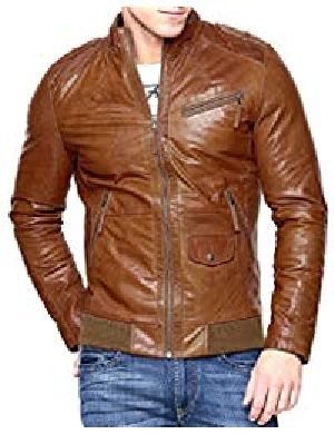 Mens Lambskin Tan Brown Leather Biker Jacket 01
