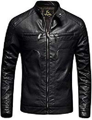 Mens Lambskin Charcoal Black Leather Biker Jacket 01
