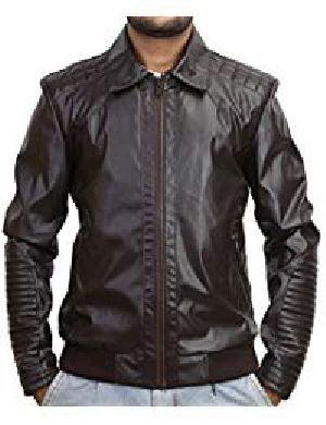 Mens Lambskin Robotic Fringed Leather Biker Jacket 01