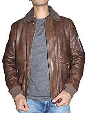 Mens Lambskin Leather Shearling Collar Bomber Jacket 01