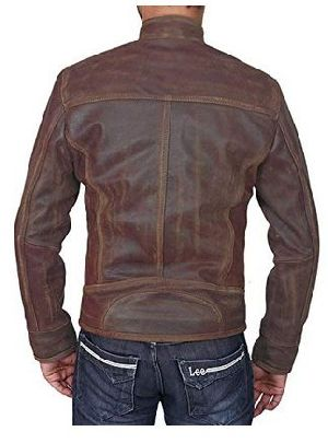 Mens Lambskin Military Brown Leather Biker Jacket 02