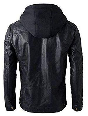 Mens Leather Detachable Hoodie Biker Jacket 02