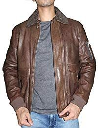 Mens Lambskin Leather Shearling Collar Bomber Jacket