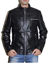 Mens Sword Black Lambskin Leather Biker Jacket