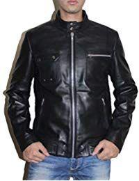 Mens Sword Black Lambskin Leather Biker Jacket
