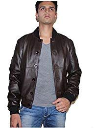 Mens Sword Brown Lambskin Leather Biker Jacket