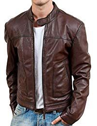 Mens Retro Brown Leather Jacket