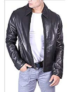 Mens Classic Black Leather Biker Jacket 02
