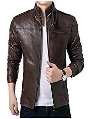 Mens Lambskin Brown Leather Biker Jacket 03