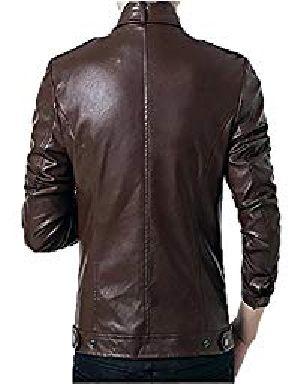 Mens Lambskin Brown Leather Biker Jacket 04