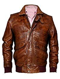 Mens Vintage Aviator Brown Leather Jacket