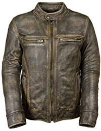 Mens Vintage Distressed Black Leather Jacket