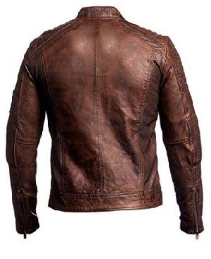 Mens Vintage Distressed Brown Leather Jacket 04