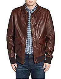 Mens Lambskin Brown Leather Biker Jacket