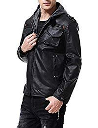 Mens Lambskin Black Leather Hoodie Biker Jacket