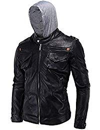 Mens Lambskin Leather Removable Hoodie Biker Jacket