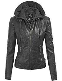 Womens Lambskin Leather Hoodie  Biker Jacket