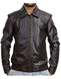 Mens Lambskin Robotic Fringed Leather Biker Jacket