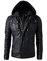 Mens Leather Detachable Hoodie Biker Jacket