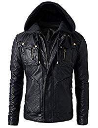 Mens Leather Detachable Hoodie Biker Jacket