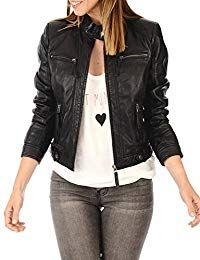 Womens Lambskin Leather Moto Jacket
