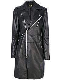 Womens Lambskin Black Leather Long Jacket