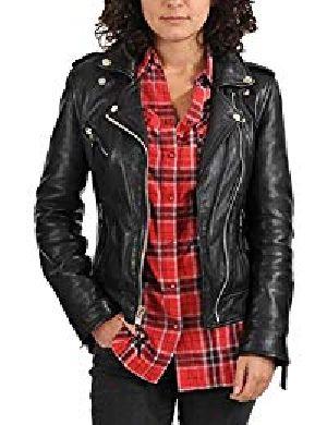 Womens Lambskin Black Leather Biker Jacket 03