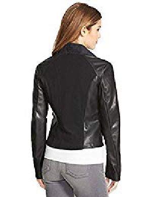 Womens Lambskin Black Leather Biker Jacket 06