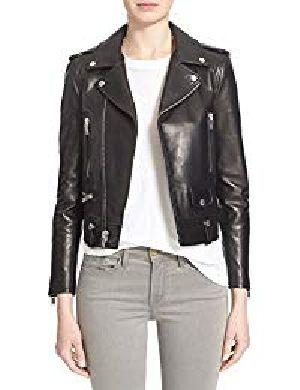 Womens Lambskin Black Leather Biker Jacket 07