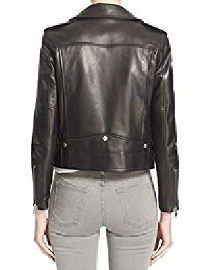 Womens Lambskin Black Leather Biker Jacket 08